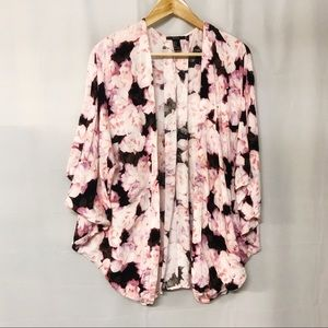 F21 floral watercolor print black pink kimono S-L